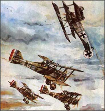 Painting of a dogfight by Joseph A. Phelan