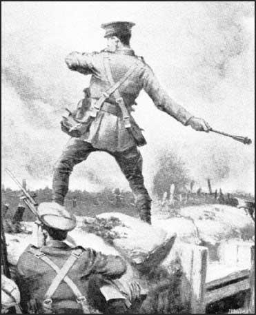 Drawing by J. H. Valda of Arthur Fleming-Sandes winning his VC at the Battle of Loos.