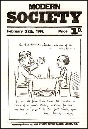 Drawing by Max Beerbohm of Frank Harris and himself at dinner. Beerbohm wrote: The Best Talker in London, with one of his best listeners.