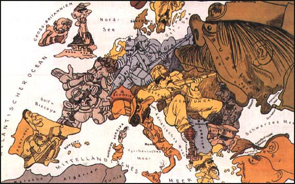 German drawing illustrating the military alliances in Europe (1914)