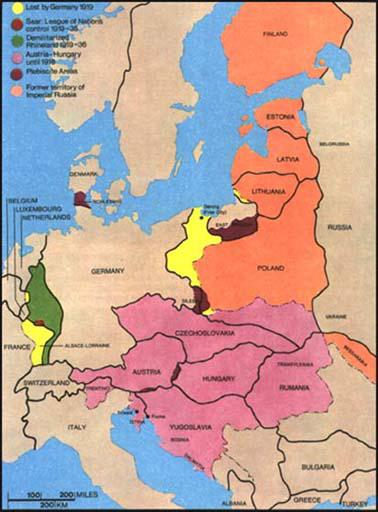 Versailles Treaty - Germany map after the versailles treaty