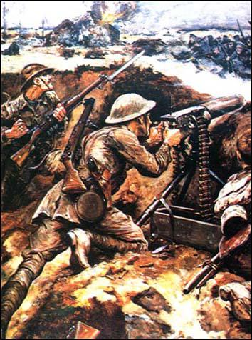 A painting of Lieutenant Thomas Wilkinsonwinning the Victoria Cross in 1916 by usinga Vickers Gun to stop a German advance.