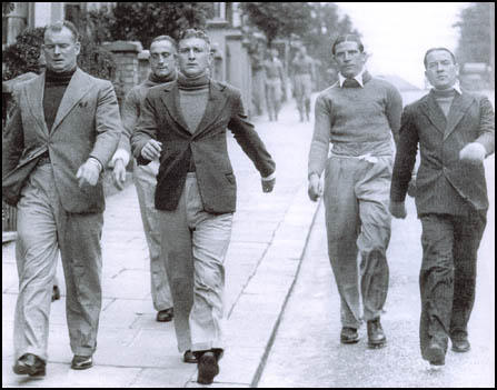 Arsenal on a training walk in 1936. Left to right Tom Whittaker (trainer), Wilf Copping, Frank Moss, Ted Drake and Alex James