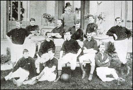 The Arsenal team in the 1888-89 season. Front (left to right): Morris, Humphrey Babour, J. M. Charteris. Seated: Brown, Peter Connolly, David Danskin. Standing: Richard Horsington, Wilson, Fred Beardsley, Joseph Bates, John McBean and William Scott.