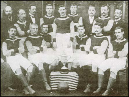 The Aston Villa 1895 FA Cup-winning side. Left to right: back row, Jack Reynolds,Howard Spencer, John Devey, Albert Wilkes, James Welford; front row, Charlie Athersmith,Robert Chatt, James Cowan, George Russell, Dennis Hodgetts and Stephen Smith.