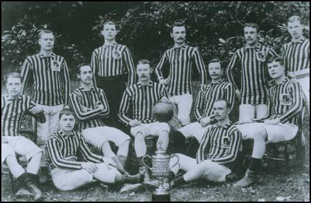 The Aston Villa 1887 FA Cup-winning side. Back row (left to right): Frank Coulton,James Warner, Fred Dawson, Joe Simmonds, Albert Allen. Middle row: (left to right):Richmond Davies, Albert Brown, Archie Hunter, Howard Vaughan, Dennis Hodgetts.Harry Yates and John Burton are seated on the floor.