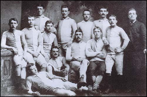 The first known photograph of Blackburn Rovers. The players are numbered:John Duckworth (2), Richard Birtwistle (4), John Lewis (5), Fred Hargreaves (6),Walter Duckworth (7), Alfred BirtwisGtle (8), Jack Baldwin (9), ThomasGreenwood (10), Doctor Greenwood (11) and Arthur Thomas (13)