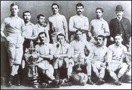 Blackburn Rovers with the FA Cup, the Lancashire Cup and the Lancashire CharityCup that they won in 1883-84 season. Back row, left to right: Joseph Lofthouse,Hugh McIntyre, Joe Beverley, Herbie Arthur, Fergie Suter, James Forrest,Richard Birtwistle, Front row: Jimmy Douglas, Joe Sowerbutts, Jimmy Brown,George Avery and John Hargreaves.