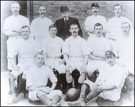 Blackburn Rovers with the FA Cup in the 1889-90 season. From left to right, back row:James Southworth, Jack Southworth, Richard Birtwistle, John Horne, George DewarMiddle row: Joseph Lofthouse, Harry Campbell, Johnny Forbes, Nathan Walton,Billy Townley. Front row: John Barton and James Forrest.