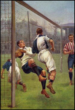 Goalkeeper being legally barged over thegoal line in a game in 1904.