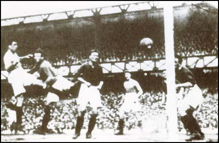 Dixie Dean scoring his 60th goal in the 1927-28 season.