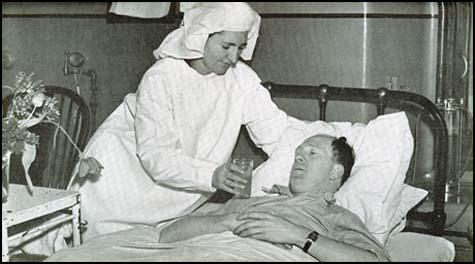 Stan Cullis recovering from concussion after a match against Middlesbrough in 1947.
