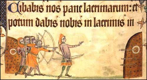 Longbowmen practicing at the butts (Geoffrey Luttrell Psalter, 1325)