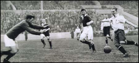 Billy Walker scores for England against Scotland in 1924.