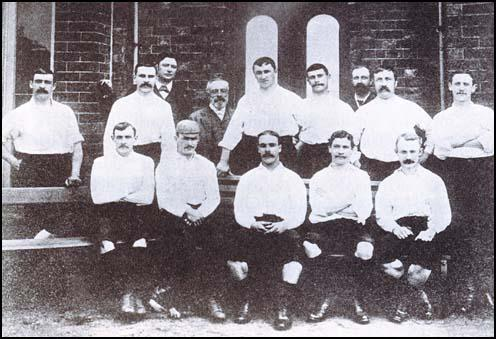 The Preston North End team that won the league and cup double in 1888-89:George Drummond,Bob Holmes, Robert Howarth, William Sudell, John Graham and Robert Mills-Roberts are in theback row. John Gordon, Jimmy Ross, John Goodall, Fred Dewhurst and Samuel Thompson are sitting on the bench.