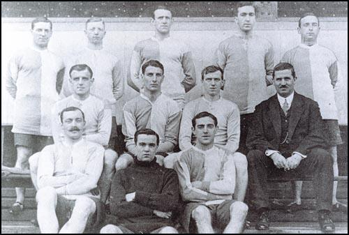 Blackburn Rovers in 1911-12 season. From left to right, back row: Jock Simpson,Edwin Latheron, George Chapman, Wattie Aitkenhead, Walter Anthony: Middle Row:Albert Walmsley, Percy Smith, Billy Bradshaw, Robert Middleton, Front Row,Bob Crompton, Alf Robinson and Arthur Cowell.