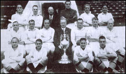 The 1936-37 Championship team. Back row (left to right) Keller McCullough, Billy Dale, Frank Swift, Bobby Marshall, Jackie Bray. Middle: Ernie Toseland, Alec Herd, Fred Tilson, Wilf Wild, Sam Barkas, Peter Doherty, Eric Brook. Front: Jimmy Heale, Joe Rodgers, Gordon Clark and Peter Percival.