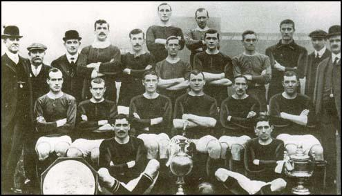 The 1908 championship-winning side. Charlie Roberts is sitting in the middle of the picture.