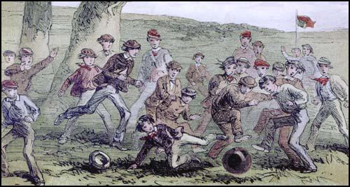 Illustration of a public schools game of football in the 1860s.