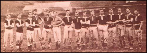 A photograph of the Uppingham team. At that time the team played 15-a-side.