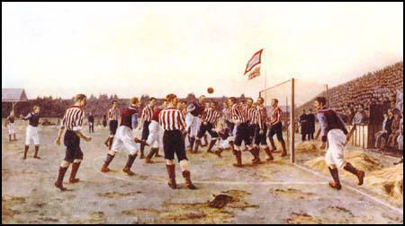 Painting by Thomas Henry of the Sunderland v Aston Villa game played in April 1895.