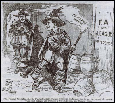 Billy Meredith portrayed as Guy Fawkes by the Manchester Evening Newswhen he created the Association Football Players Union (January 1909)