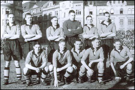 The Wolves team in 1938. Back row from left to right: Bill Morris, Dennis Westcott,George Ashall, Alex Scott, Jack Taylor, Tom Galley. Front row: Dicky Dorsett, Bill Parker, Bryn Jones, Joe Gardiner and Teddy Maguire