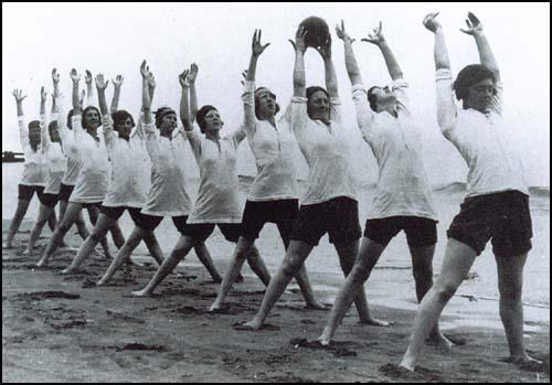Plymouth Ladies training on the beach.