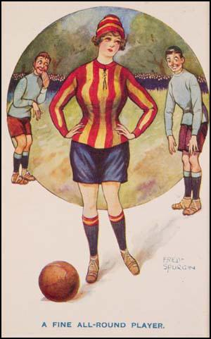 Part of the propaganda campaign against women'sfootball included this postcard by Fred Spurgin.