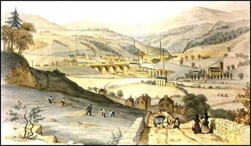 Todmorden in 1840. Fielden Brothers factory is in the centre of the picture.