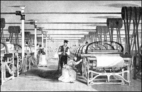 This illustration of power loom weaving appeared in EdwardBaines's The History of Cotton Manufacture in Great Britain (1835)