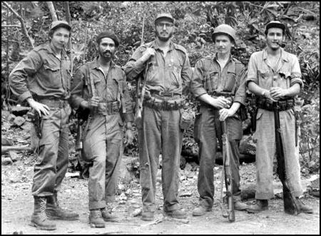 Juan Almeida (second from the left) with Fidel Castro.