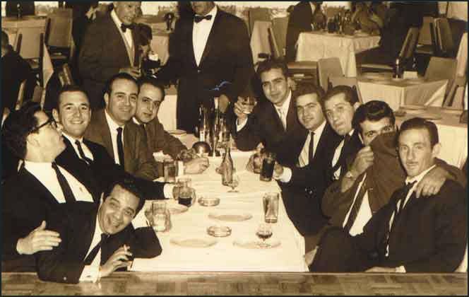 This photograph was taken in a nightclub in Mexico City on 22nd January, 1963. It isbelieved that the men in the photograph are all members of Operation 40. Closest to thecamera on the left is Felix Rodriguez. Next to him is Porter Goss and Barry Seal.Tosh Plumlee is attempting to hide his face with his coat. Others in the pictureare Alberto 'Loco' Blanco (3rd right) and Jorgo Robreno (4th right).