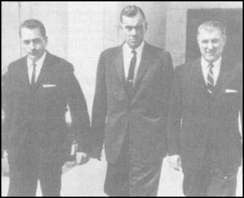 Clint Hill, Roy Kellerman, and William Greer aftergiving evidence to the Warren Commission (March, 1964)