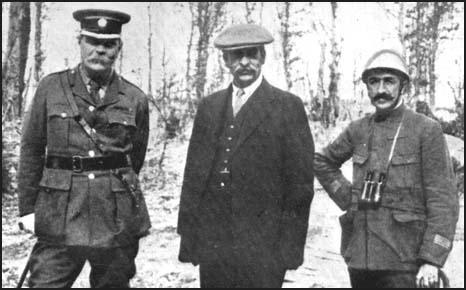 Sir Arthur Conan Doyle, Robert Donald and a French officer on the Western Front.