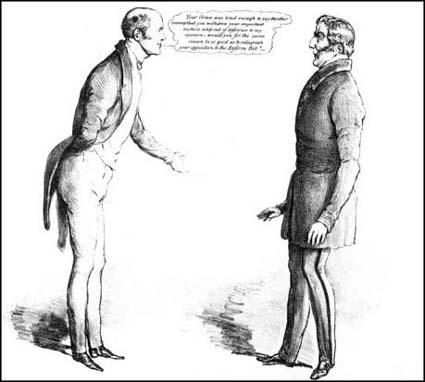 John Doyle, A Modest Request, shows Earl Grey discussingthe 1832 Reform Act with with the Duke of Wellington.The drawing appeared in The Times on 23rd March, 1832.
