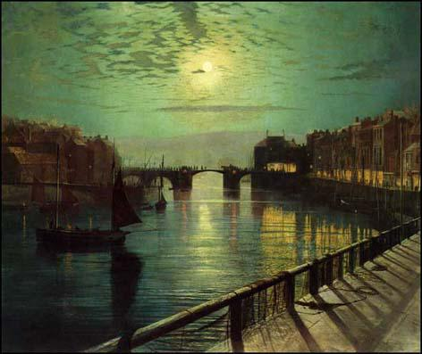 John Atkinson Grimshaw, Whitby Harbour by Moonlight (1867)