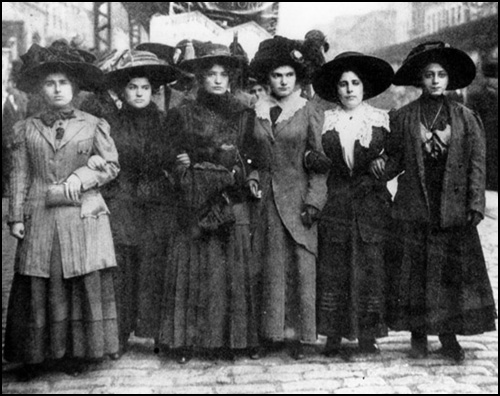 Mary Dreier, Ida Rauh, Helen Marot, Rena Borky, Yetta Raff and Mary Effers take part in a demonstration against attempts to stop women joining trade unions.