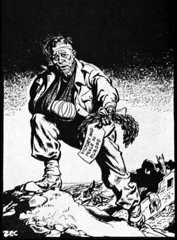 """Here you are! Don't lose it again."" Philip Zec, The Daily Mirror (8th May, 1945)"