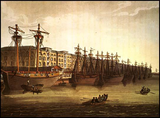 Rudolf Ackermann, West India Docks, from Microcosm of London (1808)