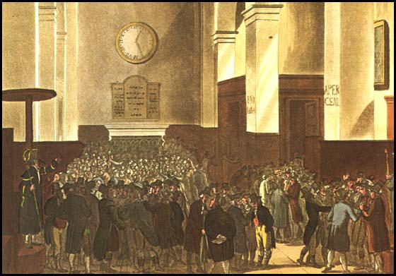 Rudolf Ackermann, Stock Exchange, from Microcosm of London (1808)