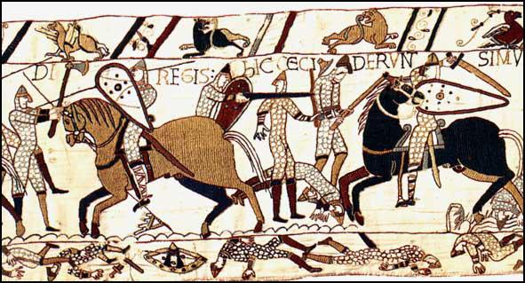 Section 53: The English battle-axe and the Norman double-edged swordin action at the Battle of Hastings, Bayeux Tapestry (c. 1090)