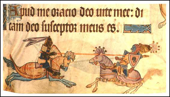 Two knights fighting with lances, Geoffrey Luttrell Psalter (1325)
