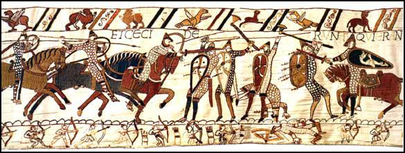 Section 56: Both Norman knights and English infantry usedspears at the Battle of Hastings (Bayeux Tapestry, c. 1090)