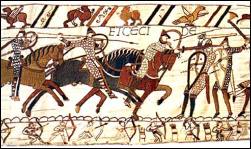 Section 56: Norman knights using spurs and stirrupsat the Battle of Hastings (Bayeux Tapestry, c. 1090)