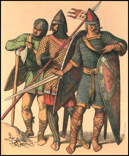 Artist's impression of soldiers in 1066 (1880)