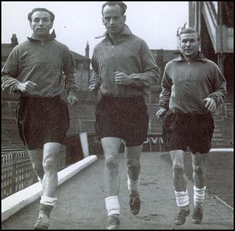 Stanley Matthews, Harry Johnston and Wilf Mannion trainingbefore the England international against Sweden in November 1947.