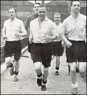 Stan Mortensen, Frank Swift, Laurie Scott, Wilf Mannionand Tommy Lawton training with England.