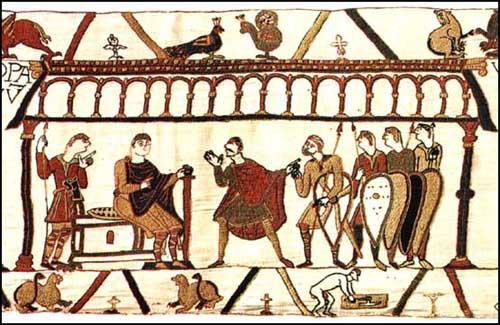 William of Normandy (seated) negotiates with HaroldGodwinson (with mustache) in 1064 Bayeux Tapestry (c. 1090)
