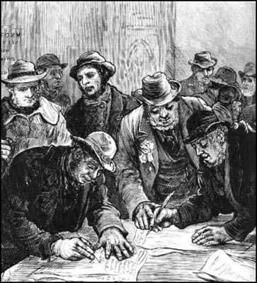 Farm labourers voting for the first time Illustrated London News (1884)